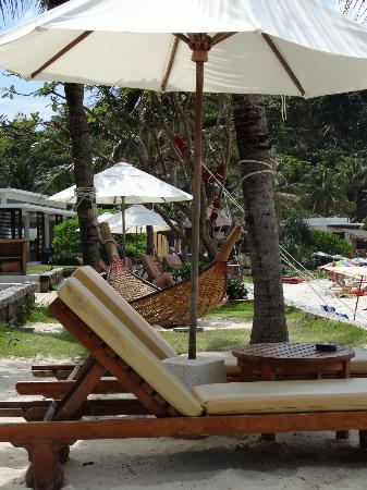 The Racha: Beachfront seating and hammock
