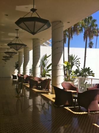 The Beverly Hilton : over looking the pool area