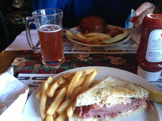 The Village Tavern: pulled pork meal and half Reuben meal