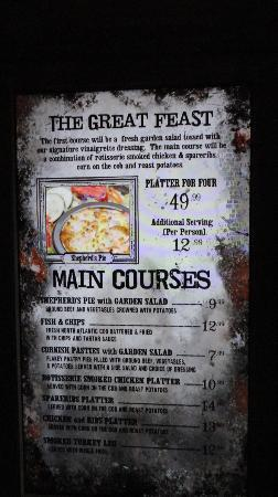 Menu Harry Potter Restaurant Picture of The Wizarding World of