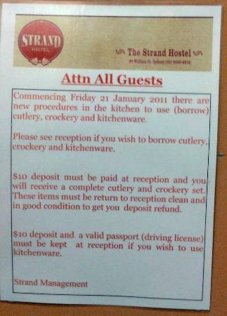 The Strand Hotel: Rules for using kitchen stuff at The Strand in Sydney