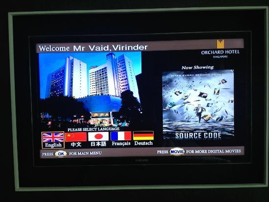 Orchard Hotel Singapore: The welcome on the room TV