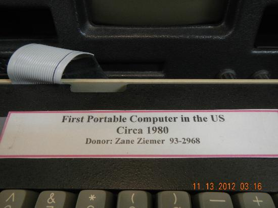 Siuslaw Pioneer Museum: 1st Portable Computer sign