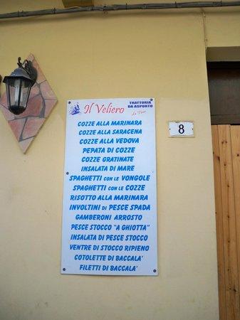 Il Veliero: il menu