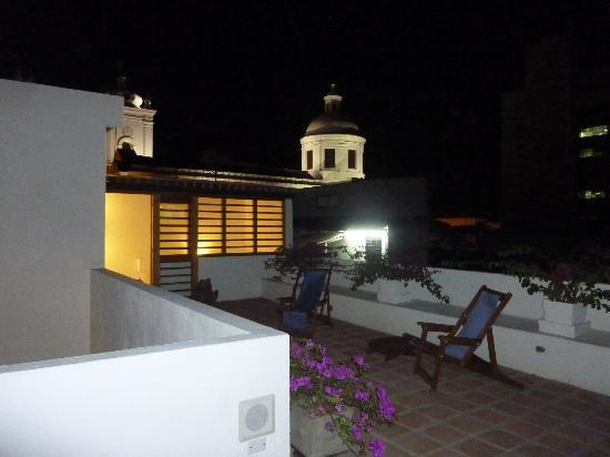 La Casa del Agua: View at night from the rooftop deck