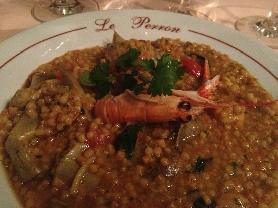 Le Perron: Risotto of langostino, perfectly al dente
