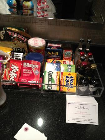 The Chelsea: Assorted goodies you could purchase in the room. There's a loaded mini frig as well.