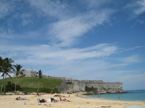 St. Catherine's beach with fort in background