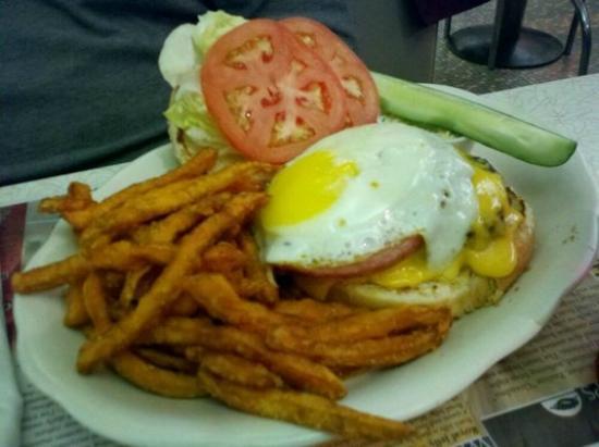 Village Diner: Brick City Burger with Sweet Potato Fries