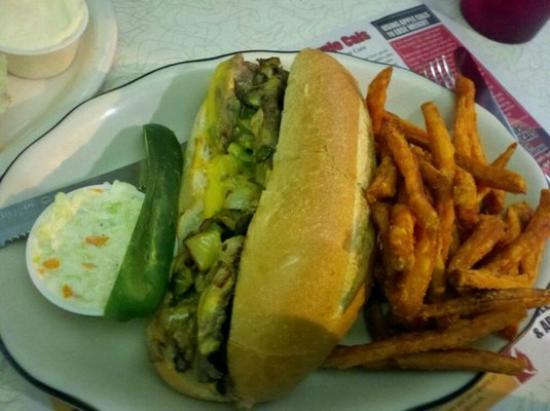 Village Diner: Cheesesteak with Sweet Potato Fries