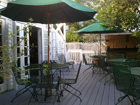 Artist House on Fleming: The patio showing some of the tables.