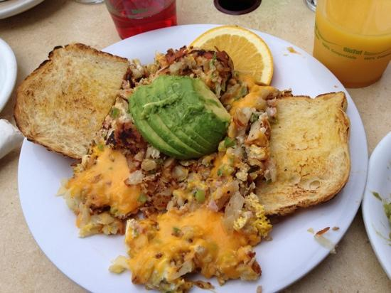 """Schooner or Later : specialty: """"the Mess"""", omelet with hash browns"""