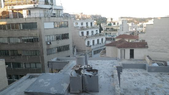Athens Center Square: Our room with acropolis view (in distance)