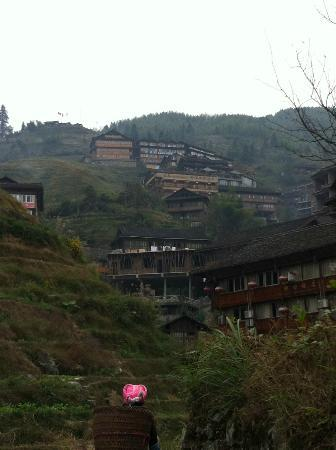 Li An Lodge: View of hotel perched on the hill