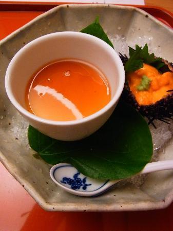 Hakone Suishoen: 夕食・・・ウニをのせて