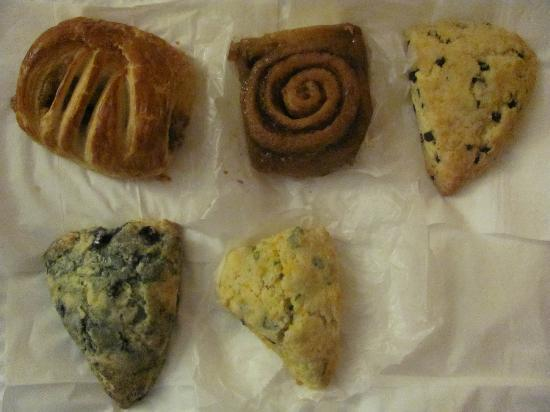 Stick Boy Bread Co: Cinnamon filled croissant, sticky bun/roll, chocolate chip/blueberry/spinach & cheese scones