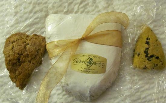 Stick Boy Bread Co: cinnamon chip scone, Christmas stollen 1/2, pumpkin/choc. chip scone