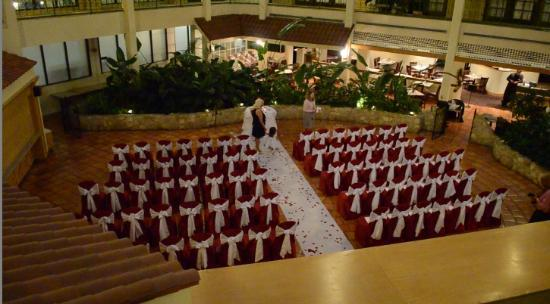 Chicago Marriott Schaumburg: This is a shot of the atrium where the wedding ceremony was held.