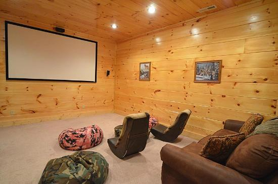 Smoky Cove Chalet and Cabin Rentals: Large indoor theater rooms with comfortable seating