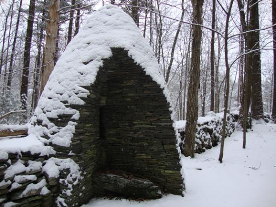 "Woodstock School of Art : Bluestone sculpture, ""Birth"" on sculpture trail"