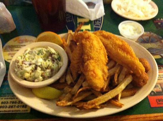 Huck's Catfish: 2 filet order with fries and bacon garlic coleslaw