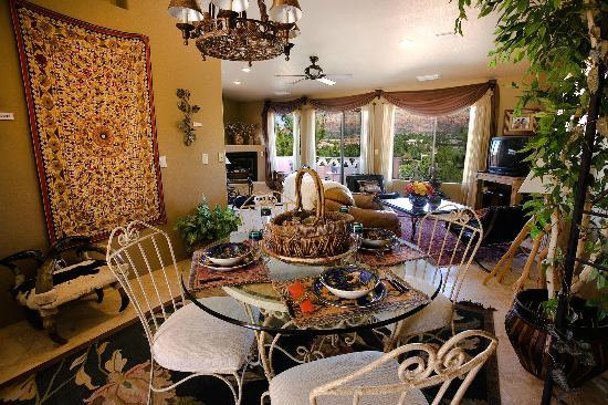 A Sunset Chateau: Villa Paradiso Living Room & Dining Table