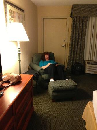 Holiday Isle Oceanfront Resort: My wife in easy chair!