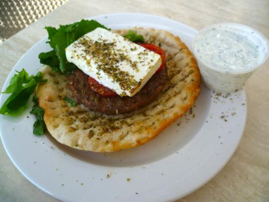 Nissi Beach Resort: My favourite at the hotel beach bar - the Greek burger