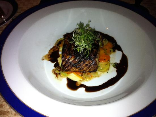 Penrose Room: Overcooked Halibut entree.