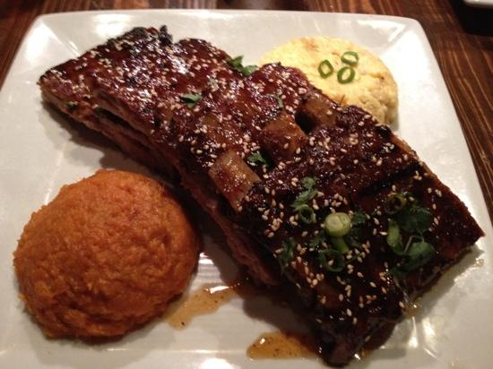 Zea Rotisserie & Bar: Ribs, grits and sweet potato.