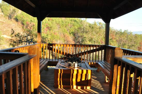 Accommodations by Parkside Resort: Fireplace on the deck