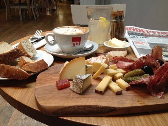 Henri: Cheese and charcuterie platter.