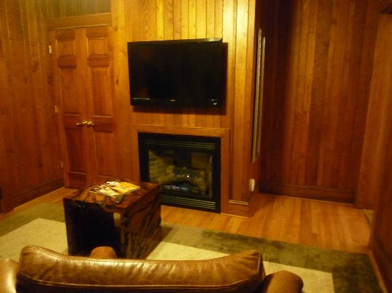 The Lodge on Lake Lure: Remote controlled fireplace