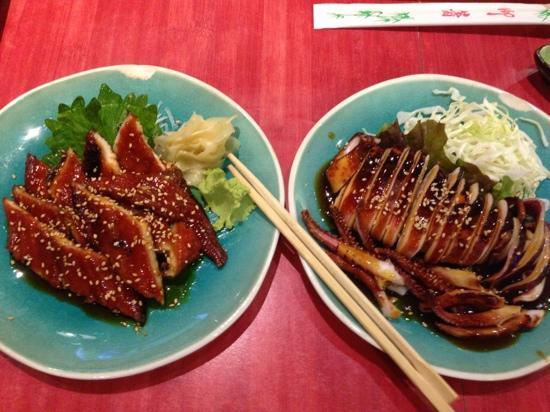 Hiro: Anago sashimi and Ikayaki