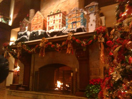The Houstonian: The beautiful fireplace decorated for Christmas