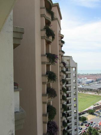 Hotel Equatorial Melaka: Flowers down the building