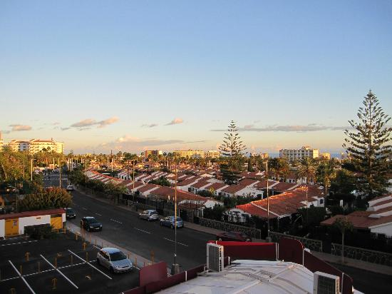 Hotel Parquemar: View from of balcony of 2nd floor studio apartment at sunset