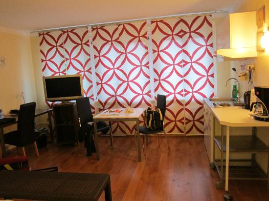 BoardingHouse Heidelberg: Телефизор, стол, мини-кухня