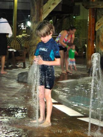 Six Flags Great Escape Lodge & Indoor Waterpark: Even with Wetsuit he got cold