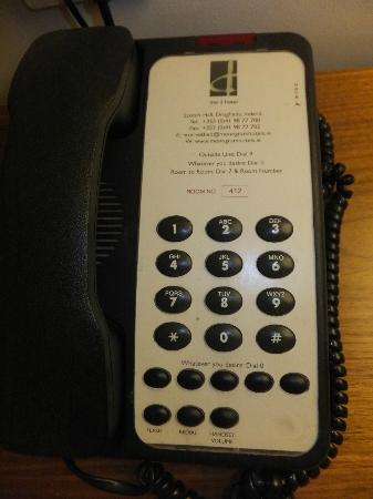 "The d Hotel Drogheda: the house phone ""reception"" is replaced with the words "" Whatever you desire """