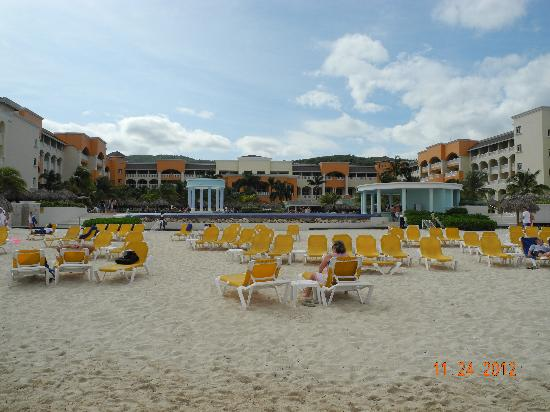 Iberostar Rose Hall Suites: Looking back at the resort from the beach