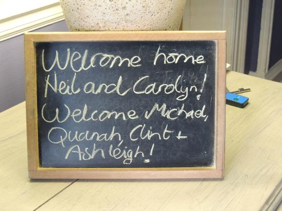 Parker Cottage: Welcome Sign