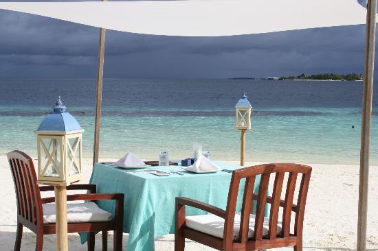 Diner romantique sur la plage photo de coco bodu hithi - Table amoureux ...