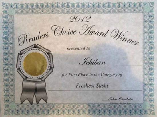 Ichiban Restaurant: 2012 Award