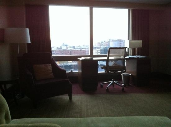 InterContinental Boston: the desk and view from superior room on 7th floor