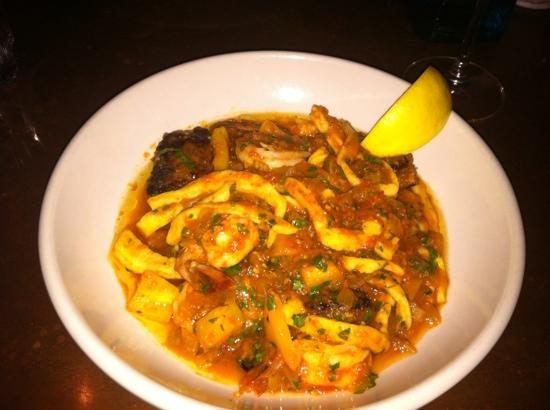 Backdoor Kitchen & Catering: shrimp and lamb sausage with rustic noodles. delish!