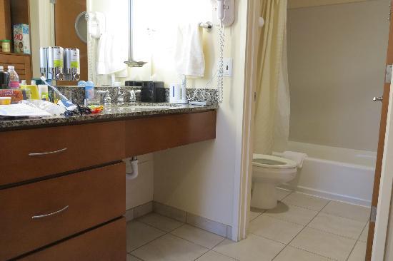 Watertown Hotel - A Piece of Pineapple Hospitality: 2-queen studio: sink area, looking into bathroom