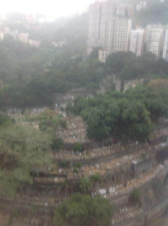 Cosmo Hotel Hong Kong: graveyard view from 22nd floor.