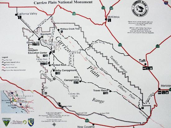 Map of Carrizo Plain National Monument   Picture of Carrizo Plain