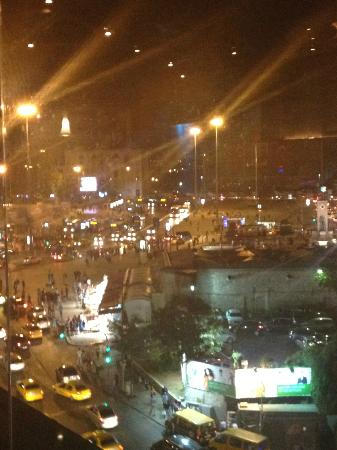 Cartoon Hotel: A view of Taksim Square from upperfloor restaurant